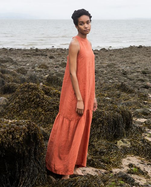 Beaumont Organic Priya Linen Dress In Clay