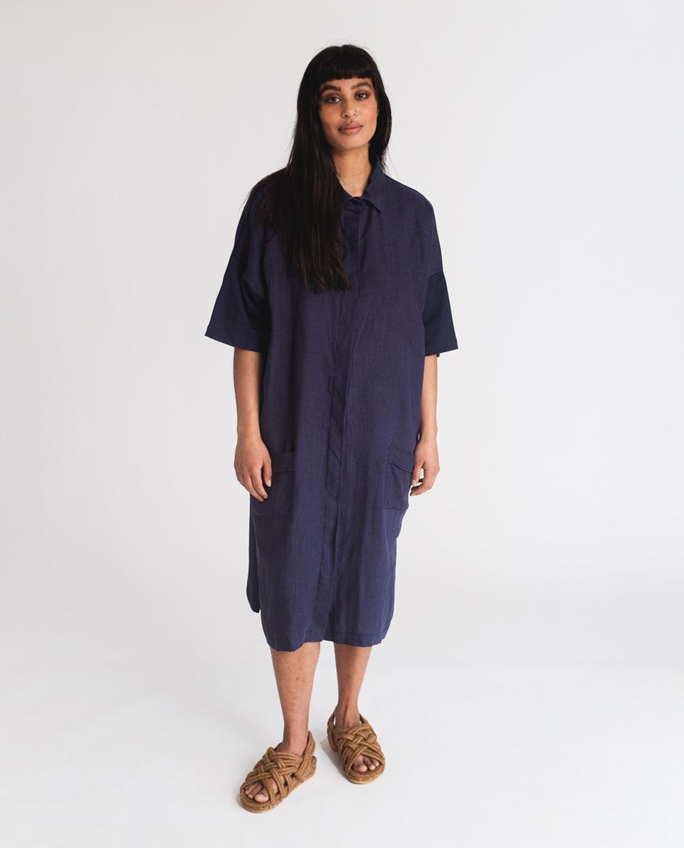 Beaumont Organic Natasha-May Organic Cotton & Linen Dress In Navy