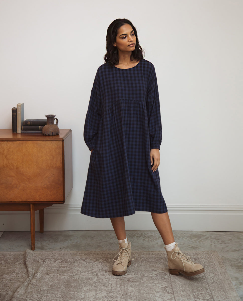 Beatrix-Gee Organic Cotton Dress In Navy Gingham