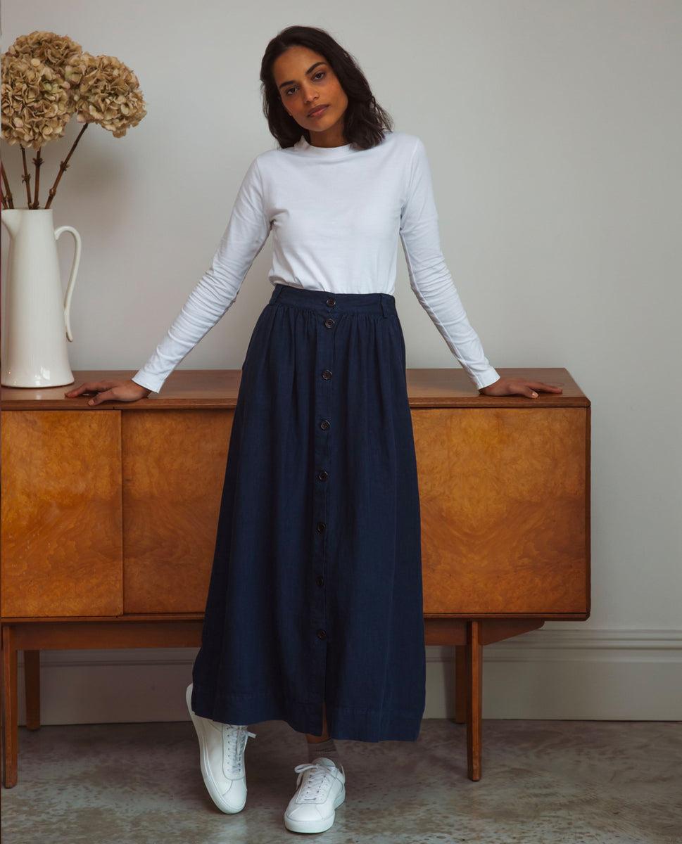 Ursa Linen Skirt In Navy