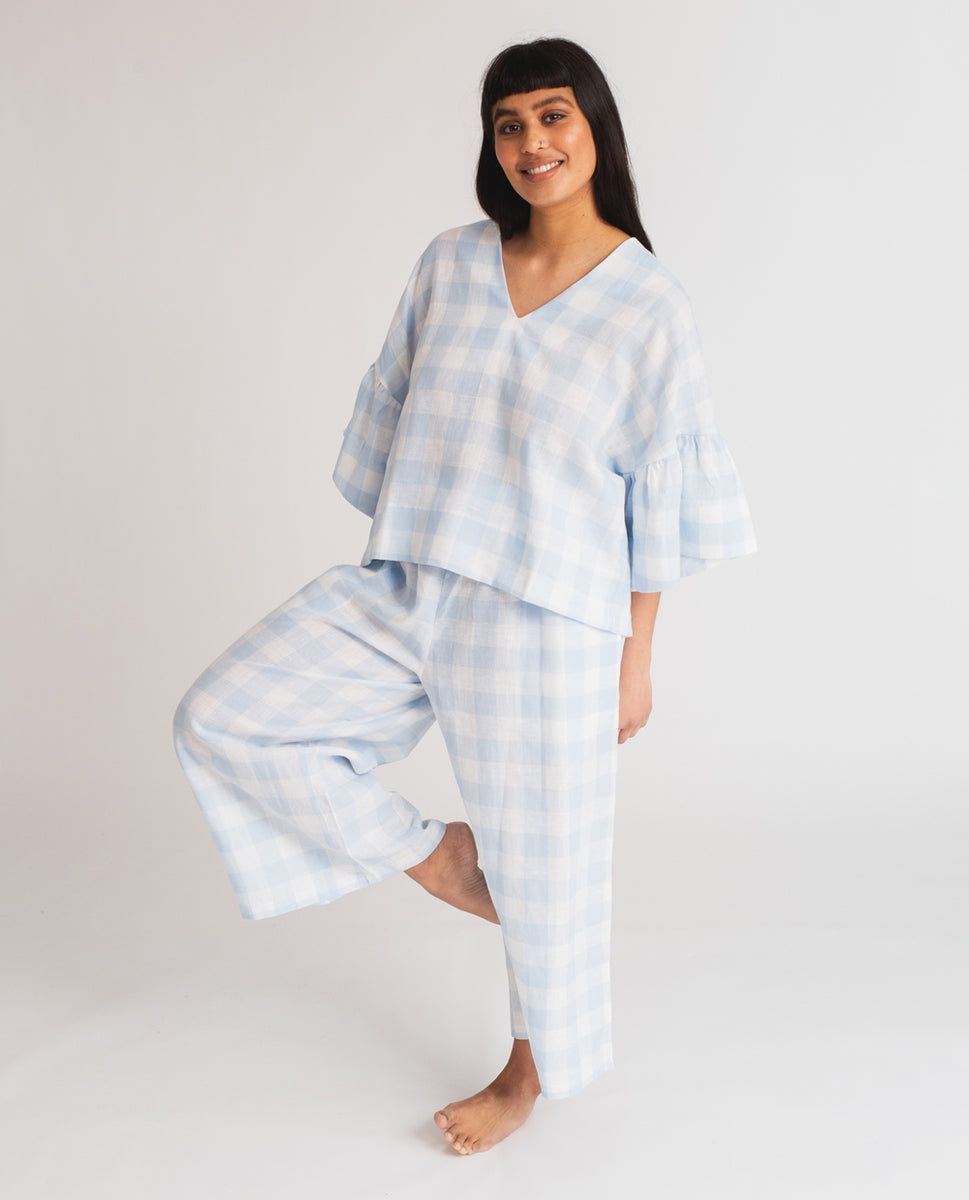 Beaumont Organic Rita-Gee Linen Gingham Top In Pale Blue