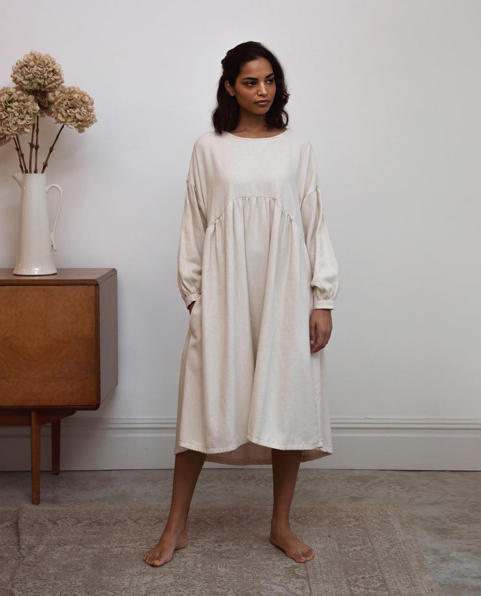 Beatrix-Jane Organic Cotton Dress In Beige