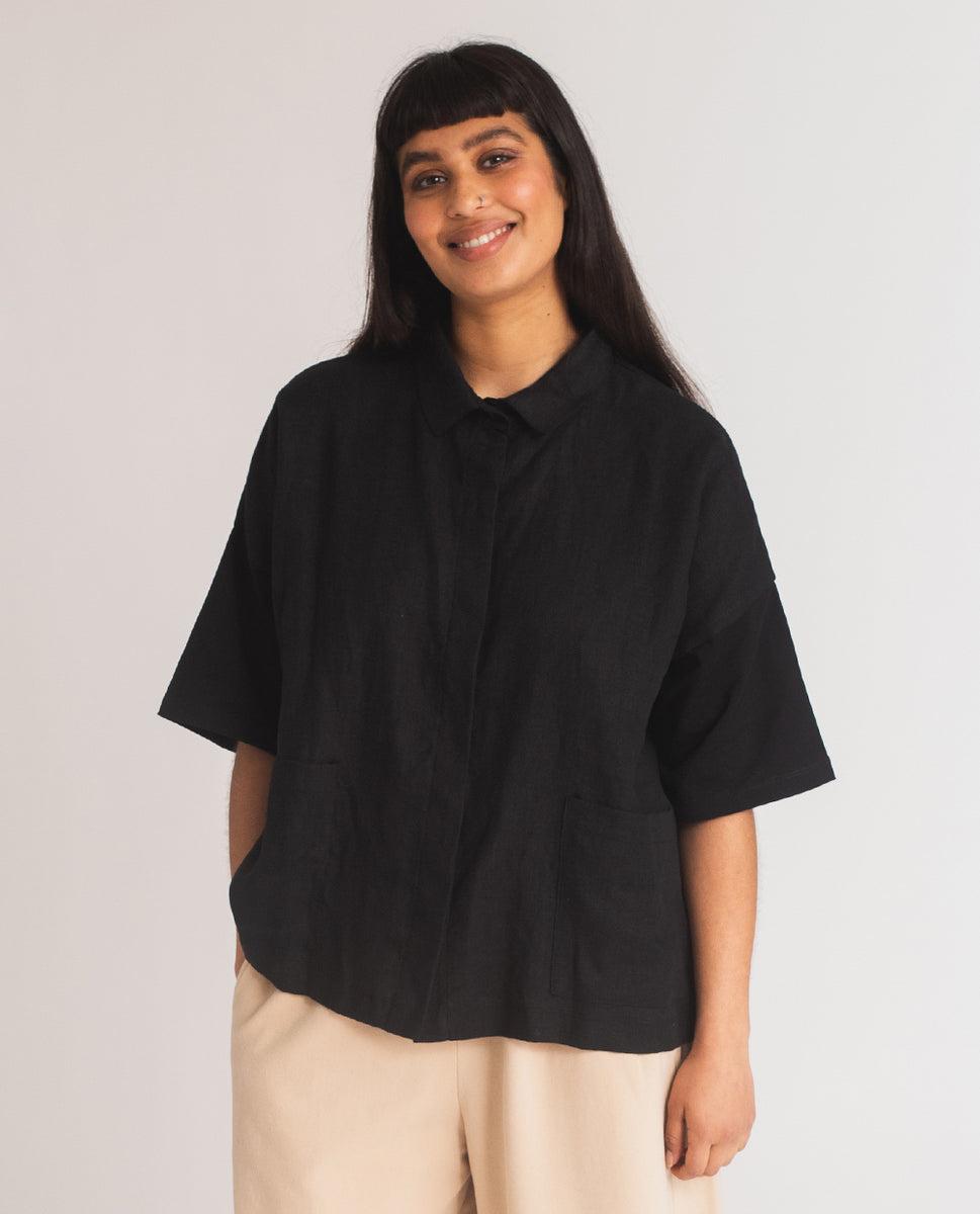 Beaumont Organic Naomi-May Organic Cotton & Linen Shirt In Black