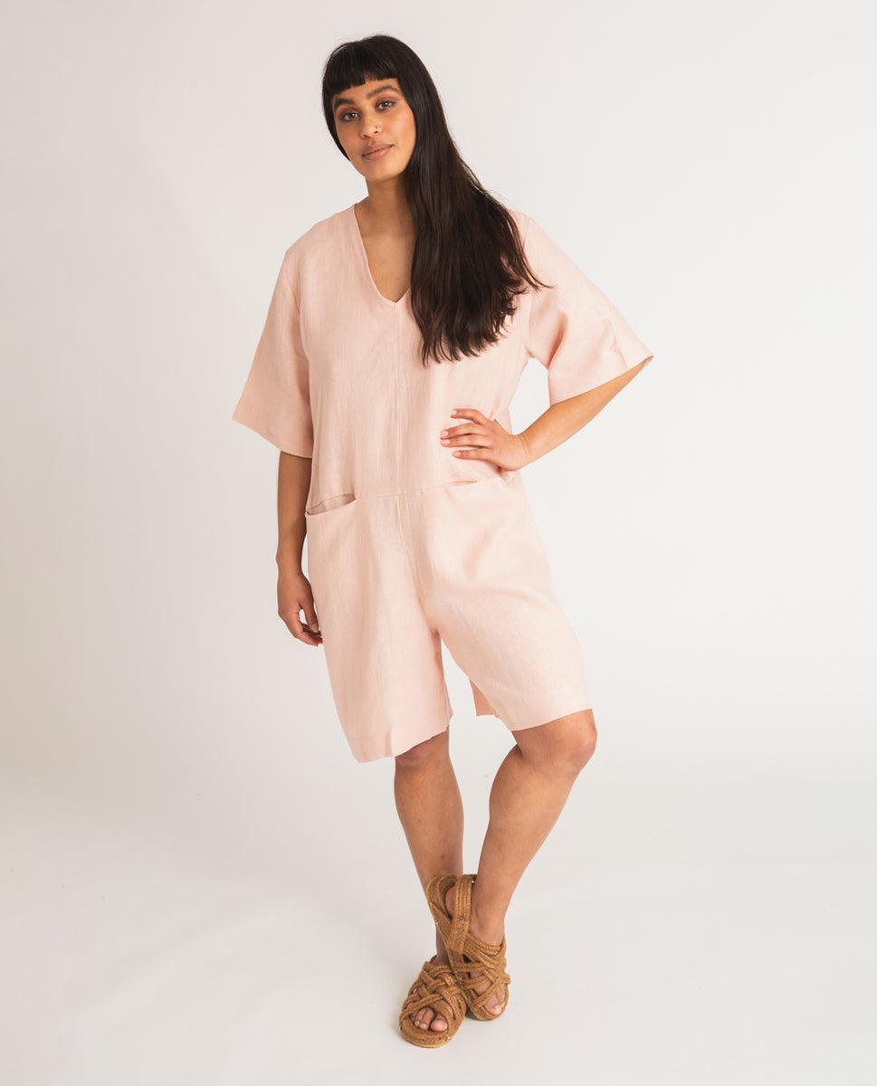Nova Linen Jumpsuit In Rose