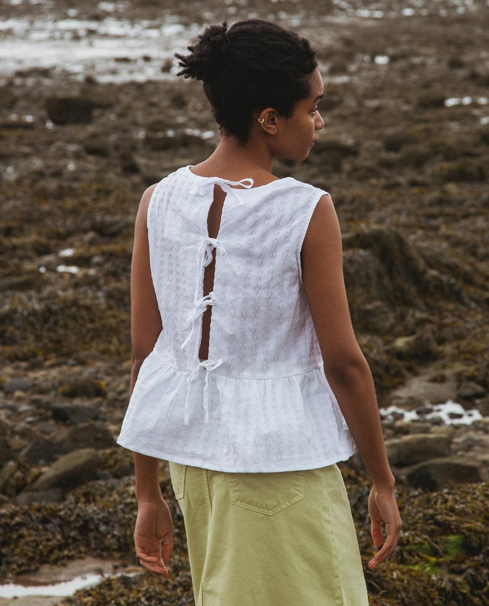 Marcia Cotton Seersucker Top In White