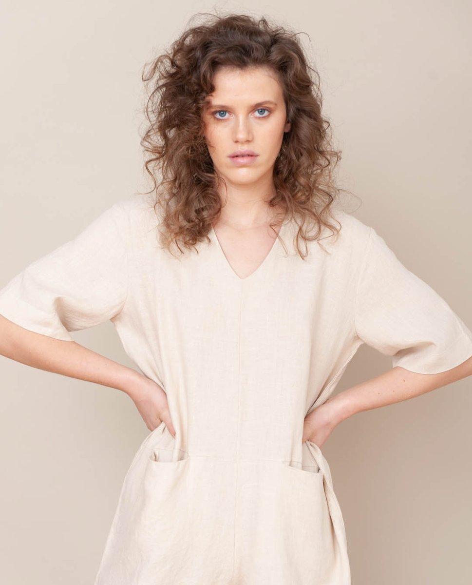 Nova Linen Jumpsuit In Bone