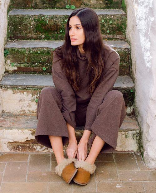 Winona Organic Cotton Trousers In Brown Marl
