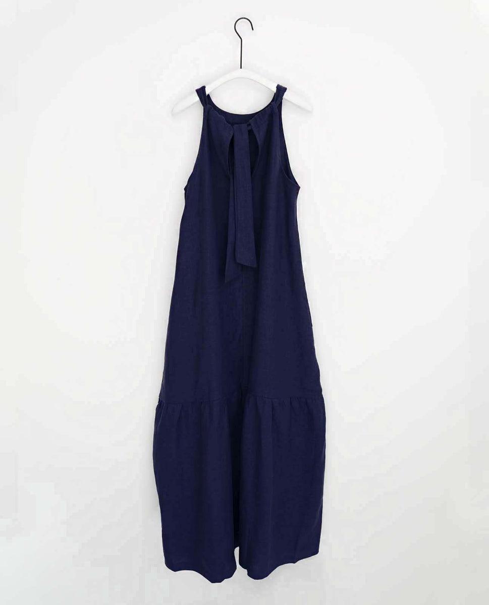 Priya Linen Dress In Navy