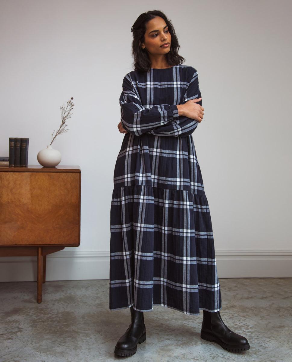 Mirabelle-Kay Organic Cotton Dress In Navy & White Check