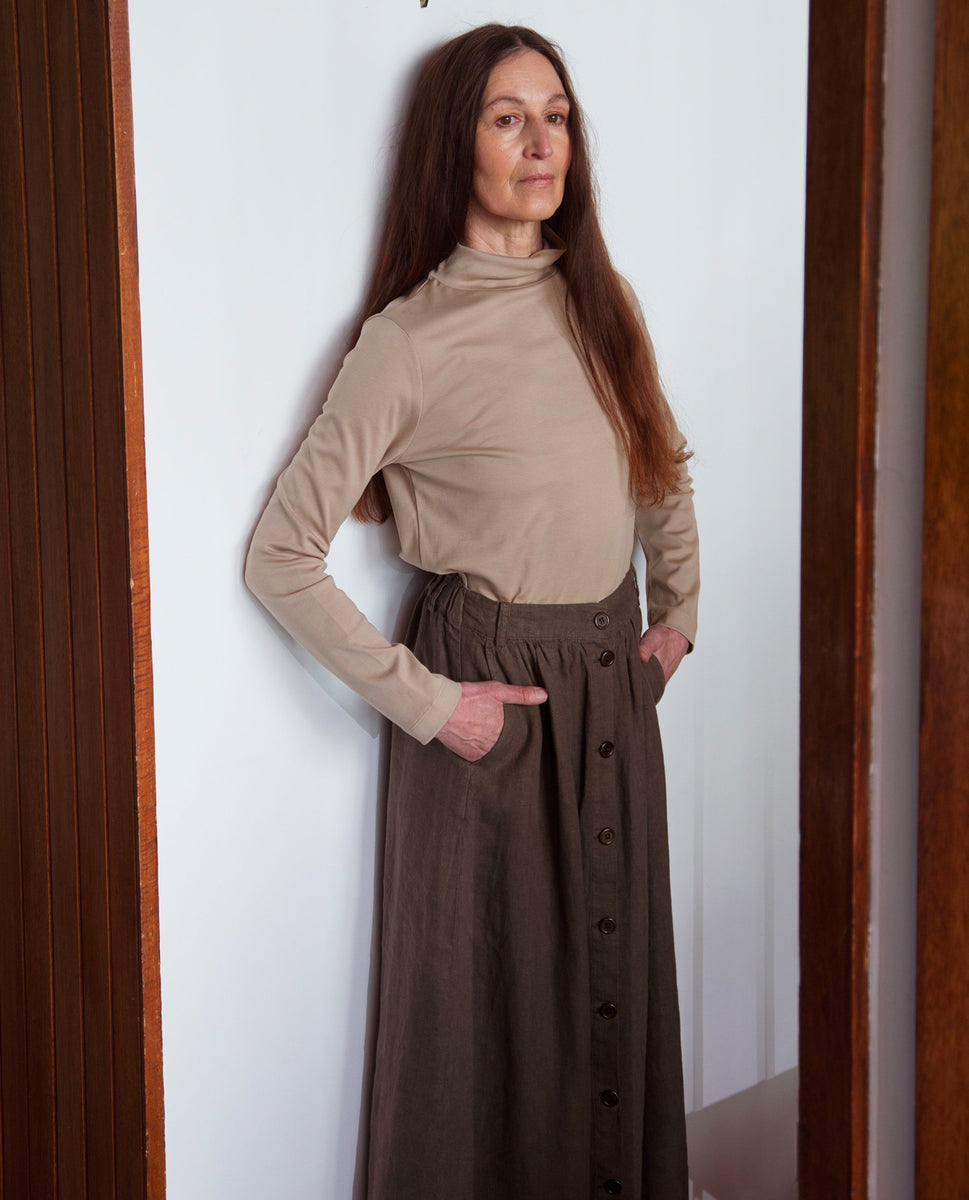 Beaumont Organic Ursa Linen Skirt In Crocodile