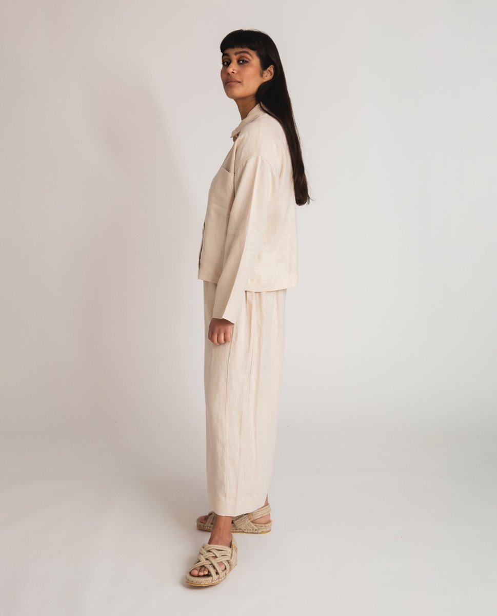 Nicole-May Linen Trousers In Cream