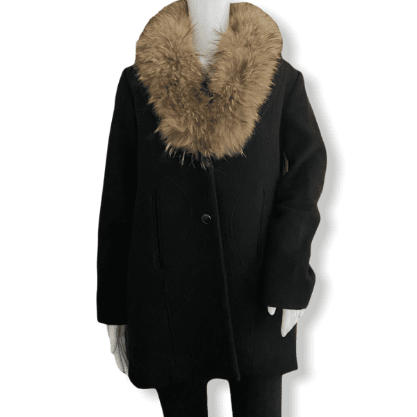 SANDRO black fur-trimmed coat S