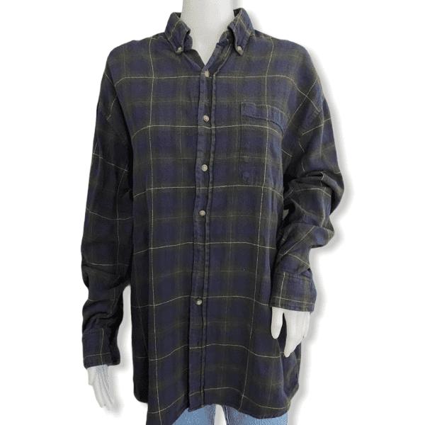 VINTAGE flannel shirt dark blue L