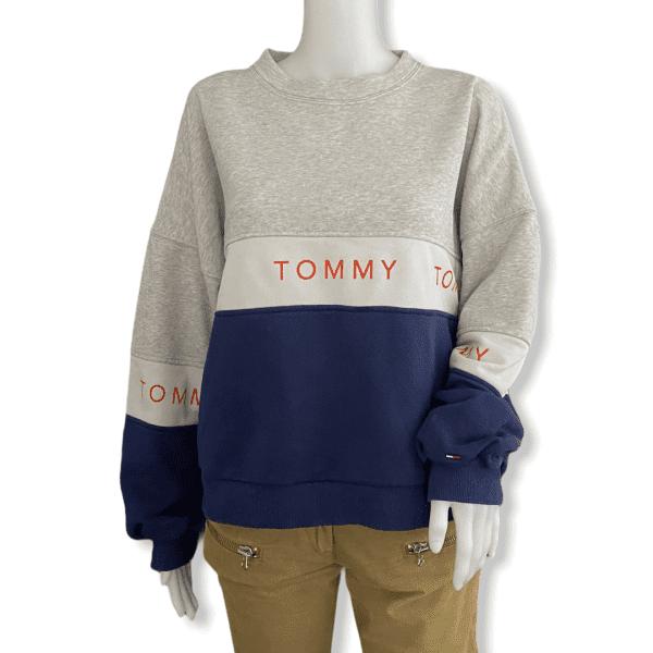 TOMMY HILFIGER grey and blue sweatshirt M