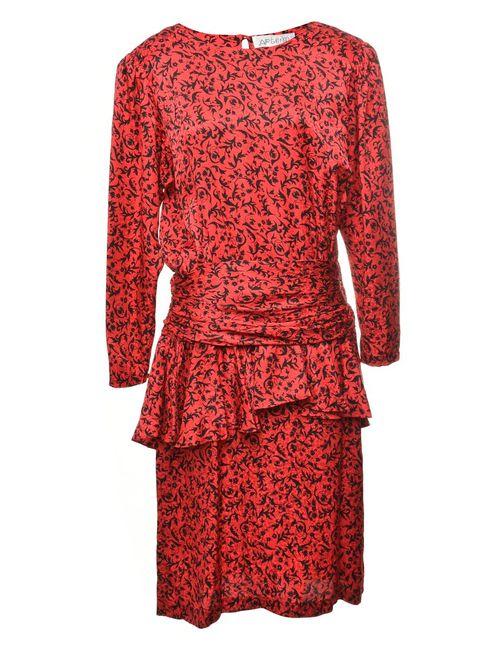 100% Silk Patterned Dress - L