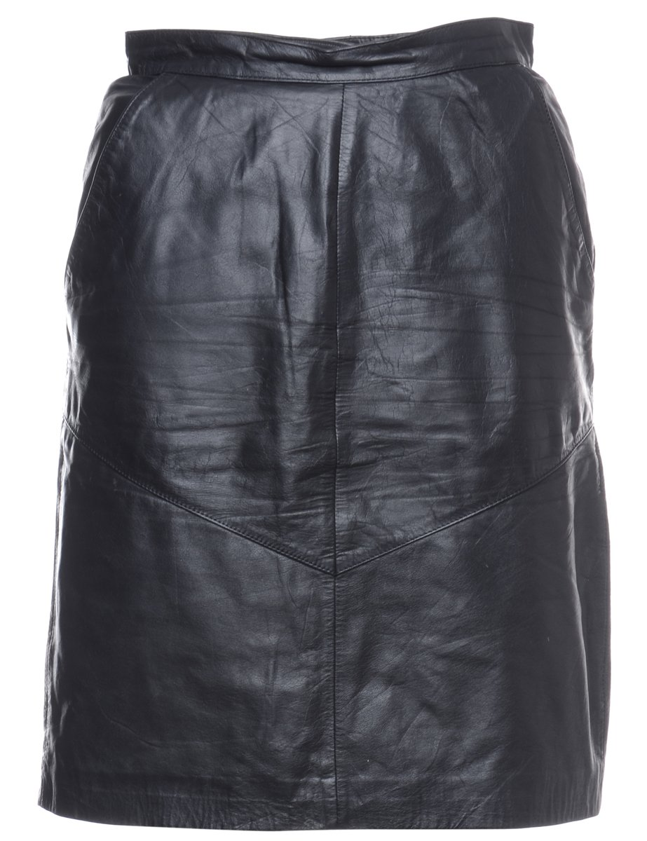 1990s Leather Pencil Skirt - M