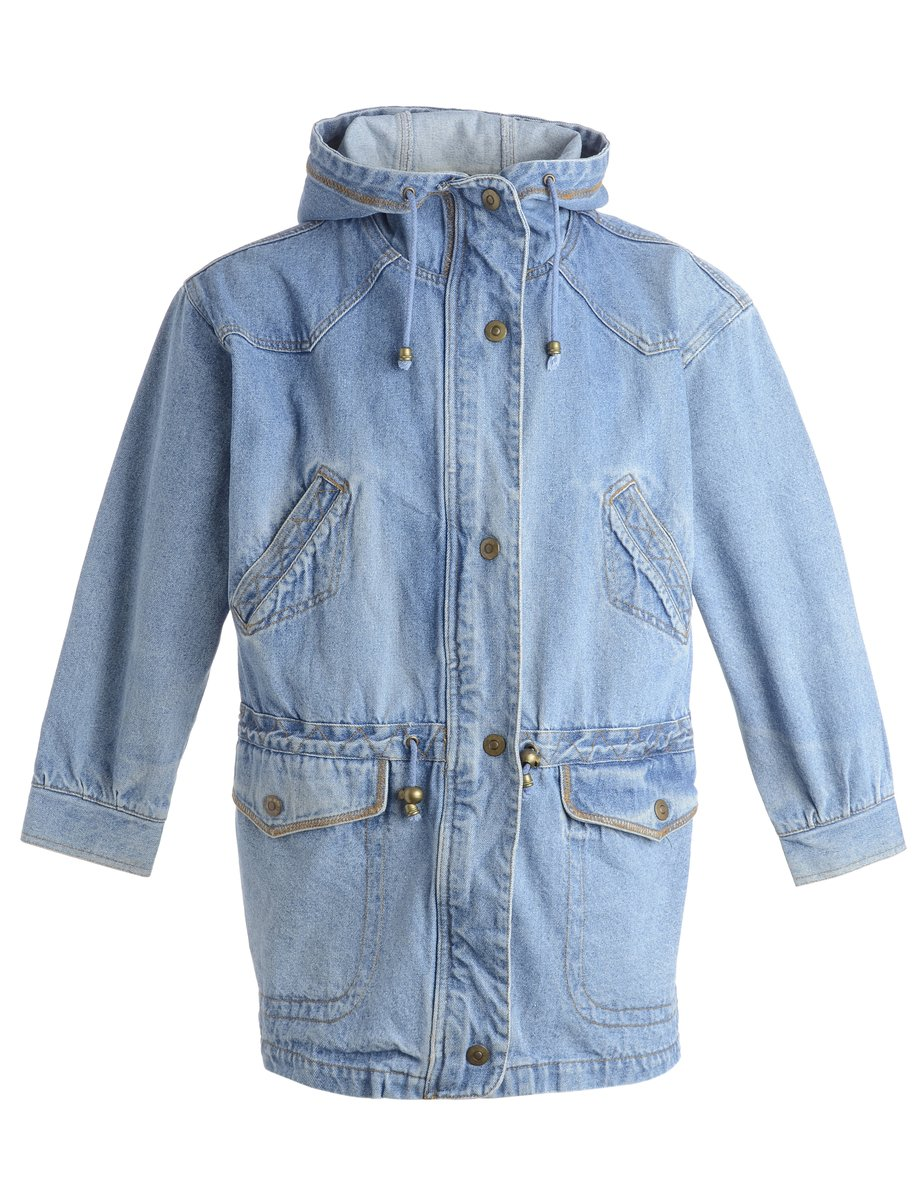 1980s Hooded Denim Jacket - L