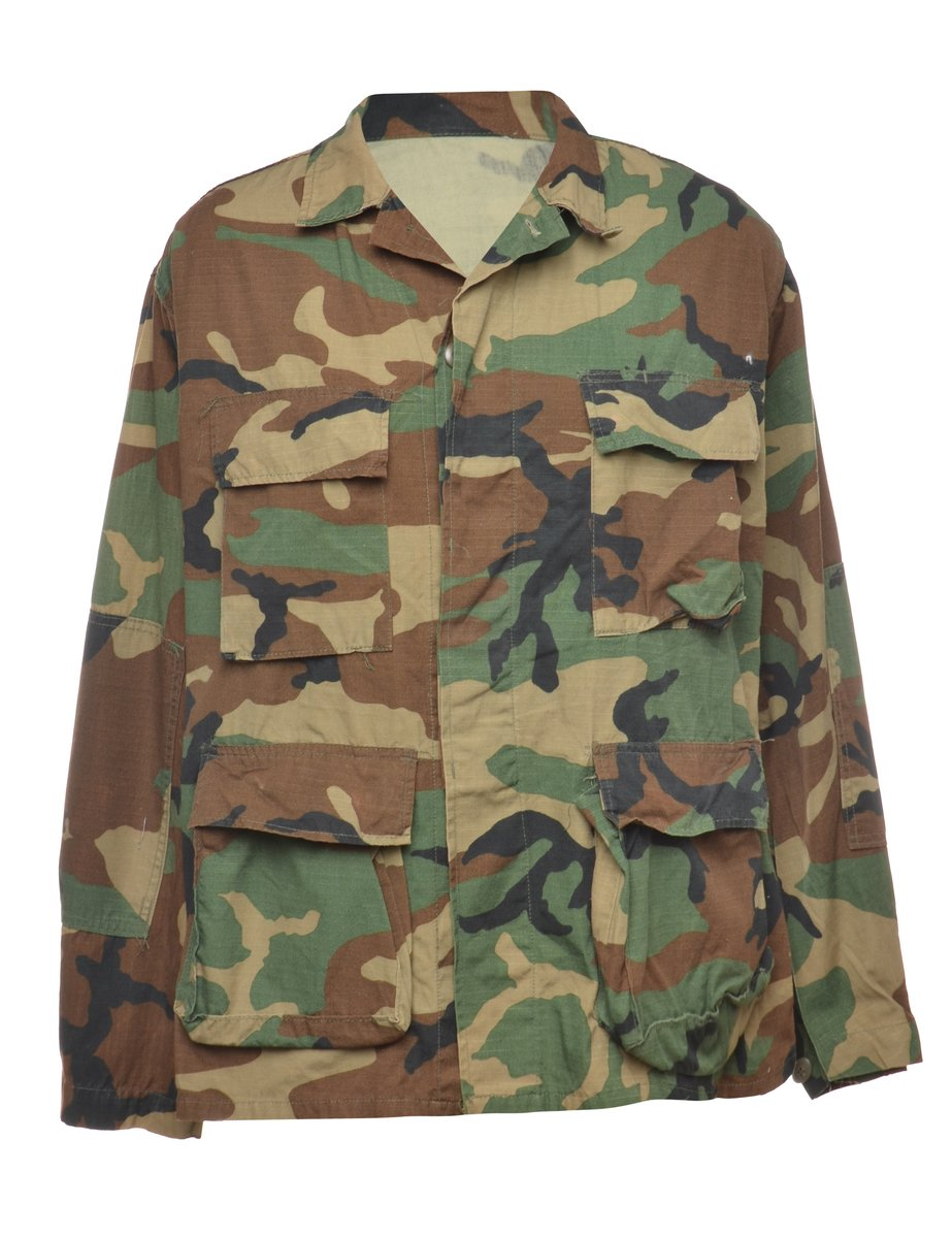 1990s Camouflage Military Jacket - L