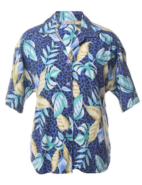 1990s Foliage Hawaiian Shirt - L