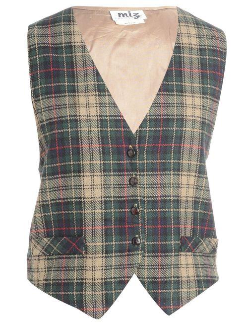 1990s Checked Waistcoat - L