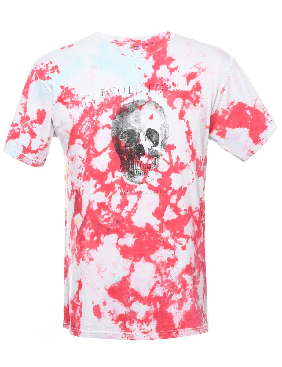 2000s Tie Dyed Evolution Printed T-shirt - M