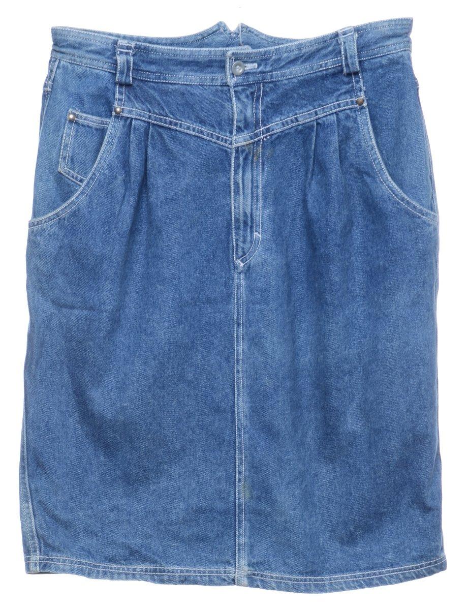1990s Light Wash Denim Skirt - M