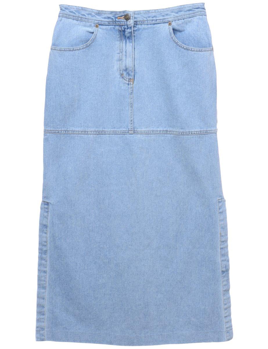 1990s Light Wash Midi Skirt - M