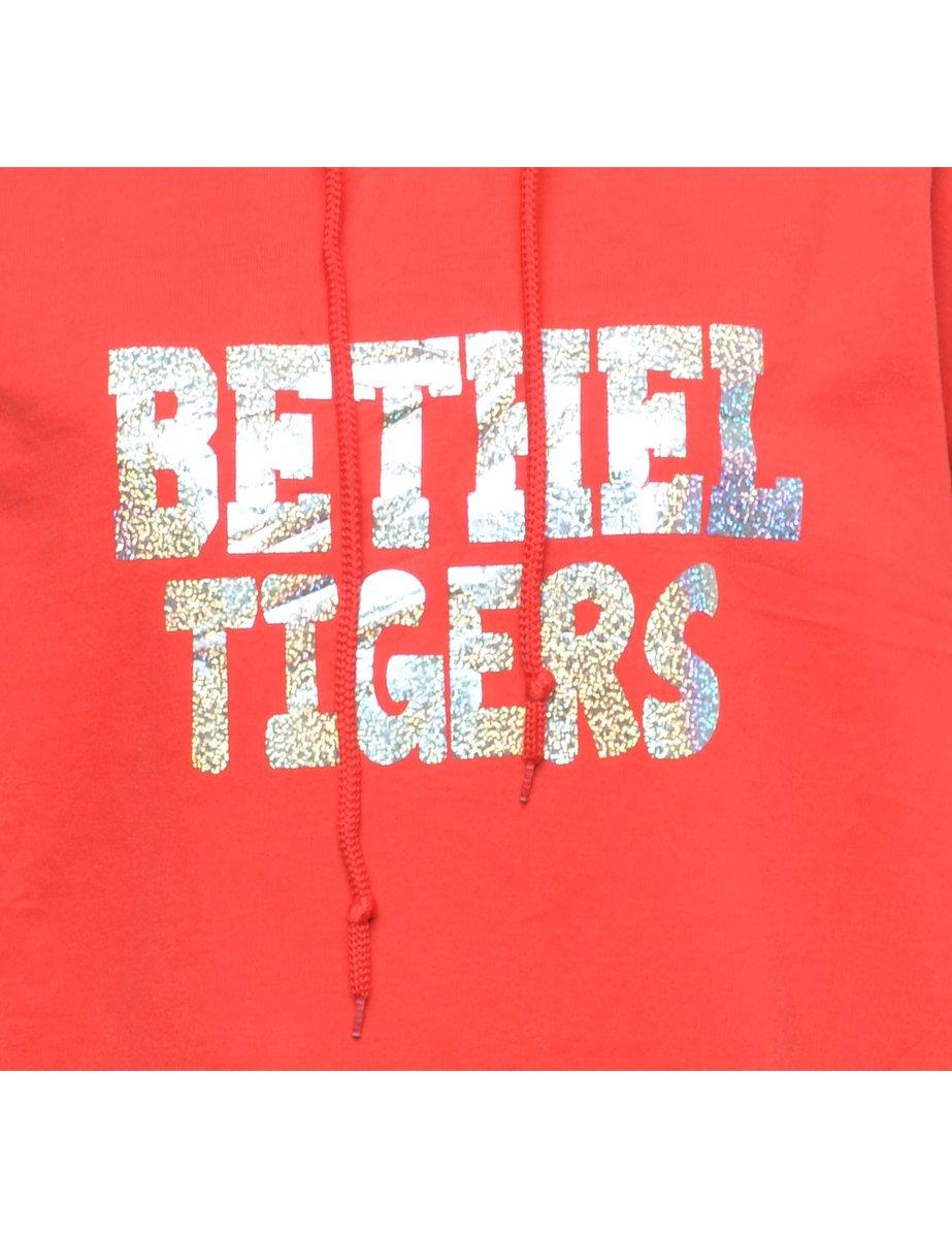 Beyond Retro 1990s Bethel Tigers Printed Hoodie - L