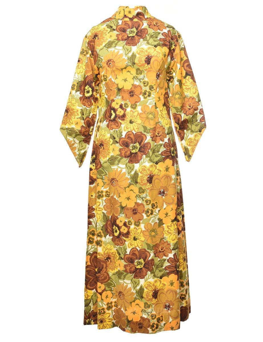 1970s Floral Maxi Dress - S