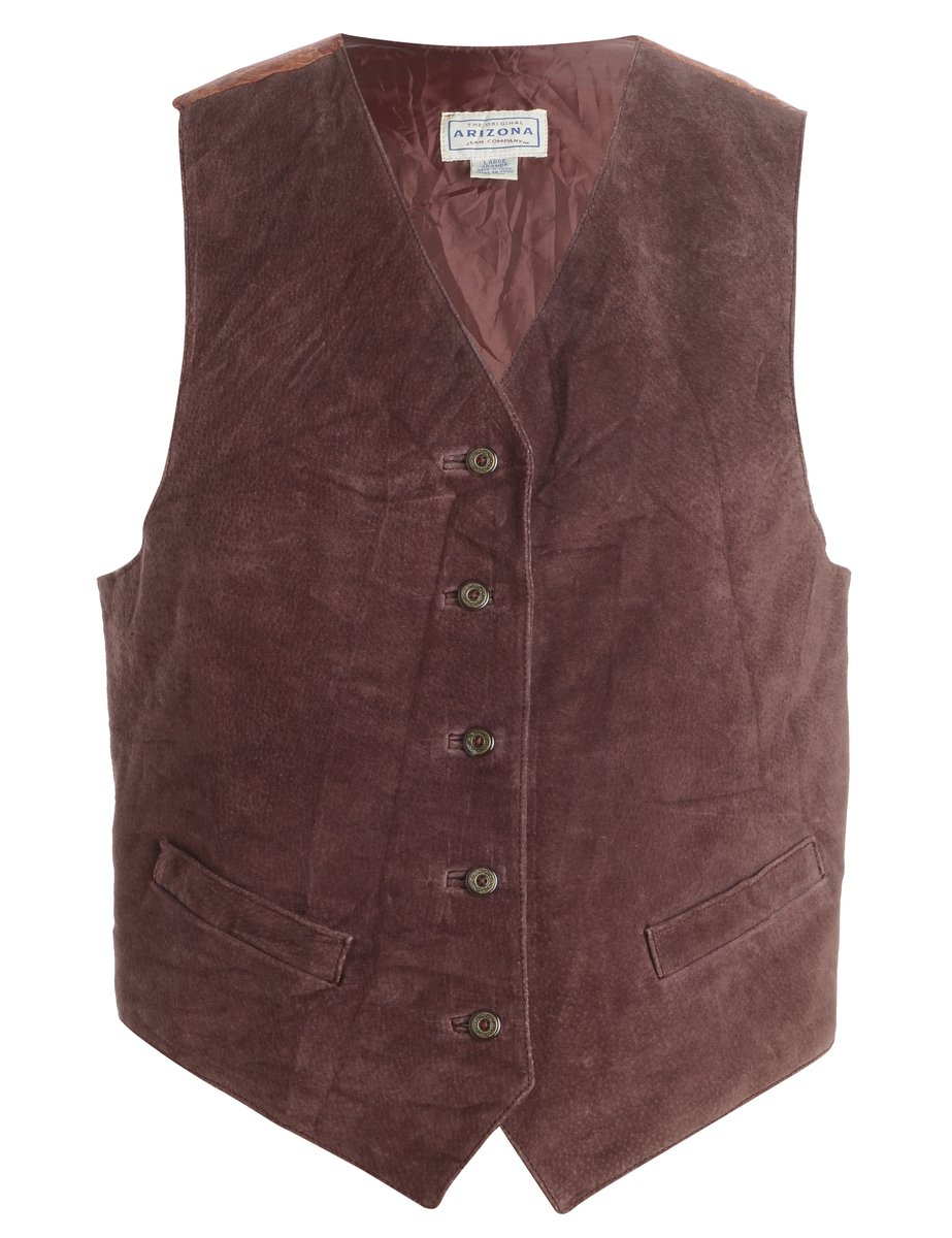 1990s Leather Waistcoat - L