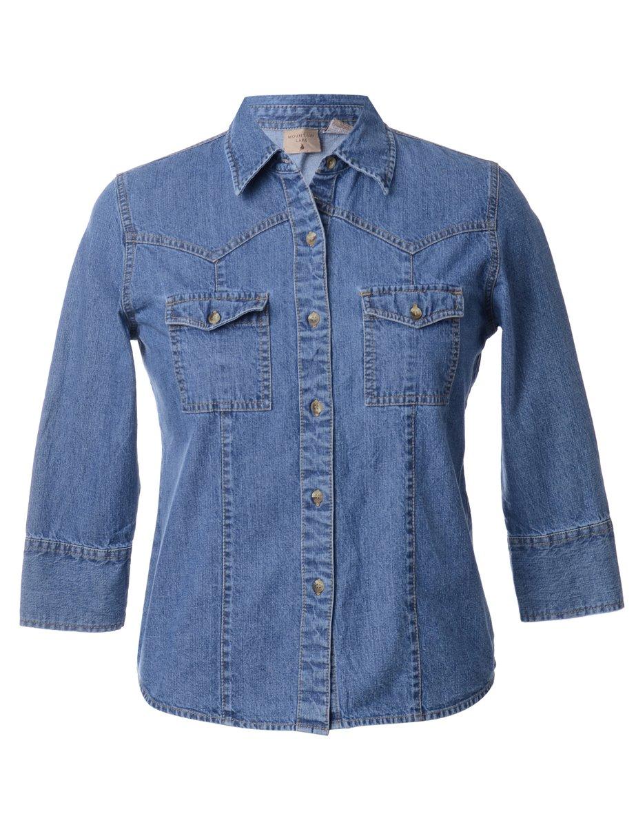 1990s Long Sleeved Denim Shirt - M