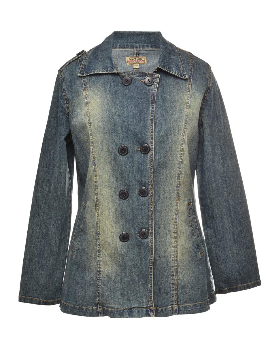 2000s Button Front Denim Jacket - L