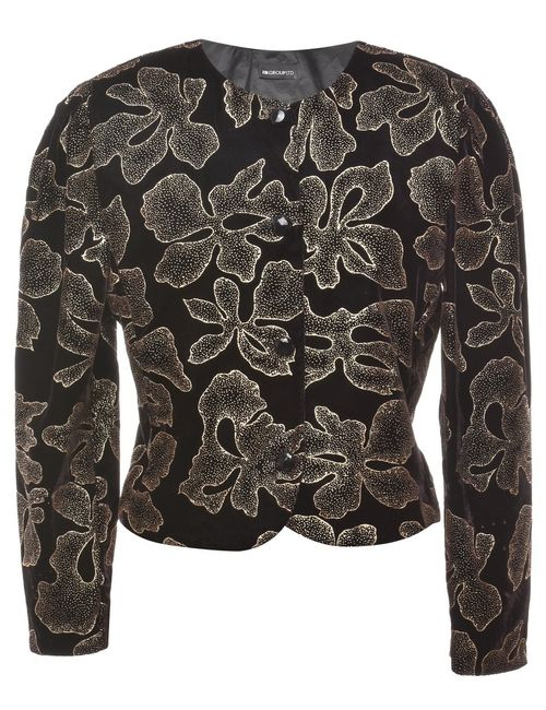 1980s Floral Pattern Evening Jacket - M