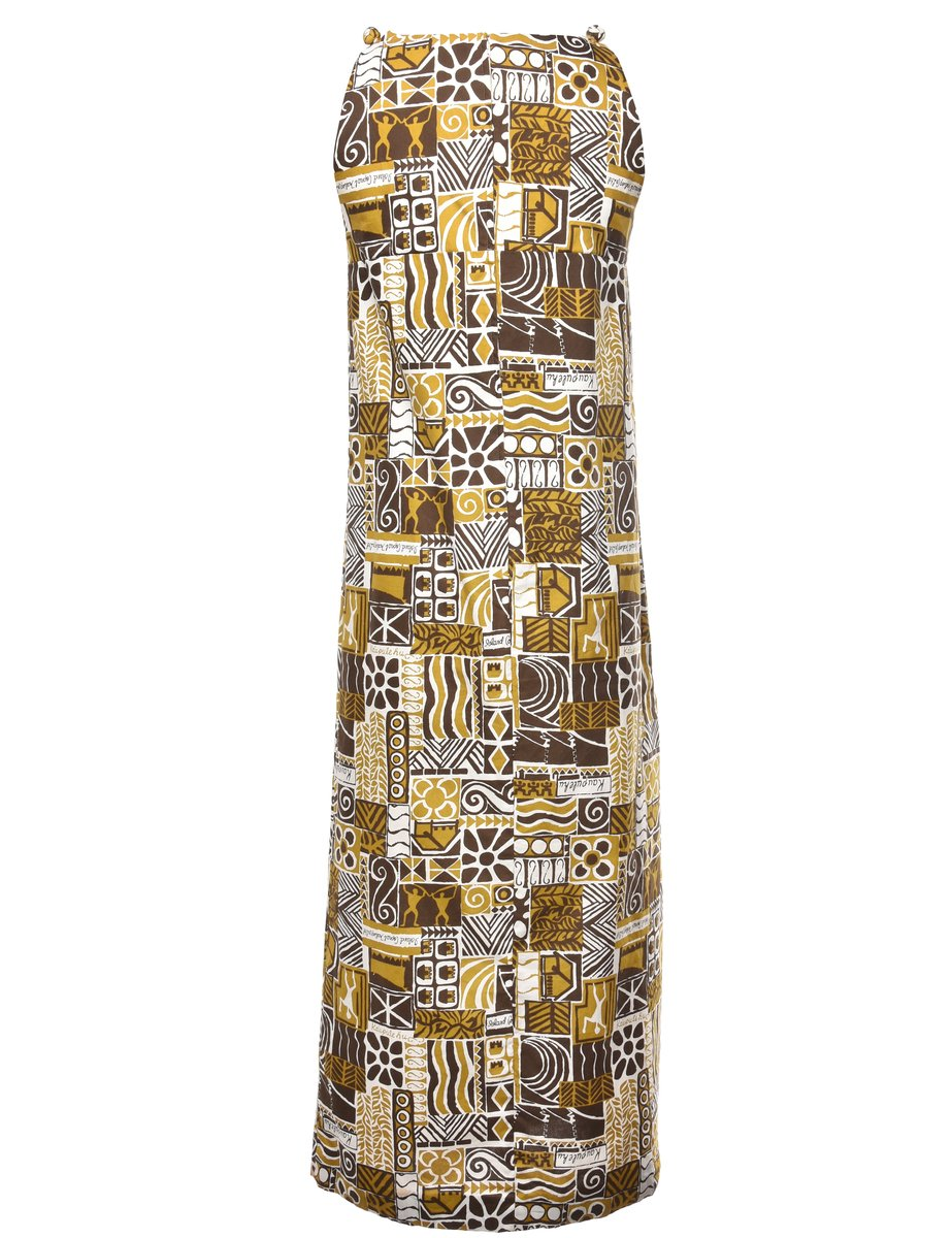 Beyond Retro 1970s Novelty Print Dress - M