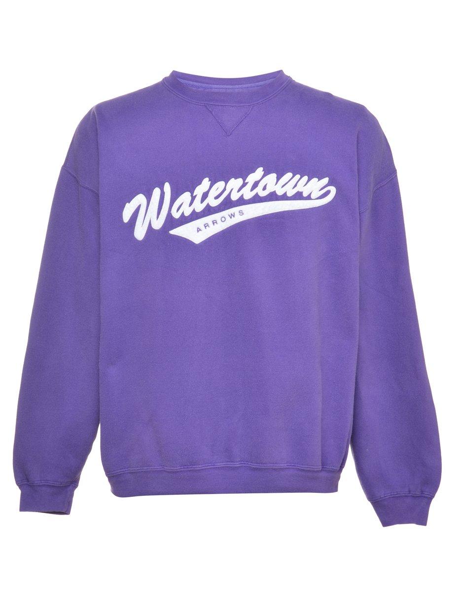 2000s Purple Printed Sweatshirt - L