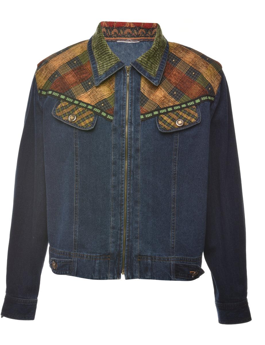 1990s Zip Front Denim Jacket - M