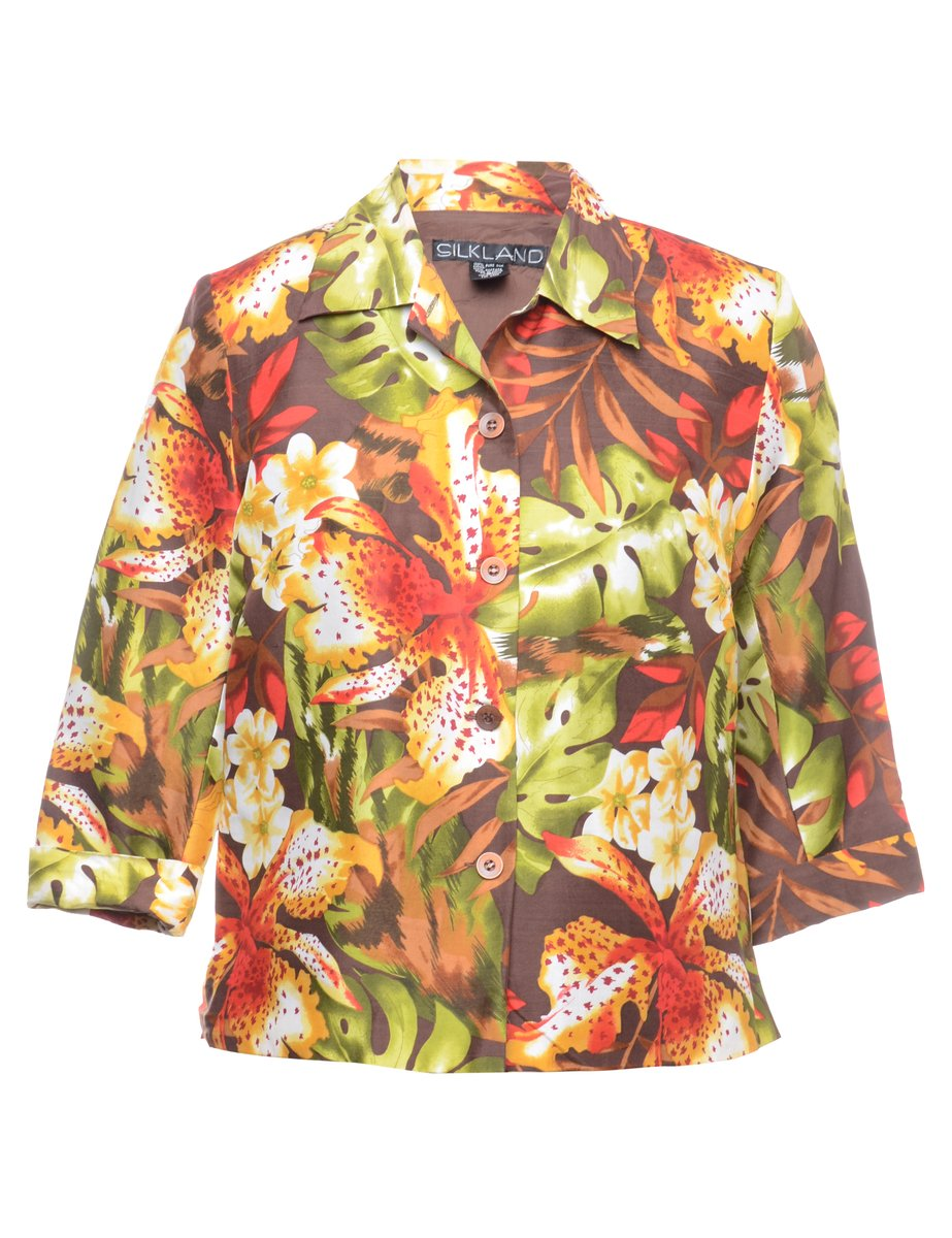 1990s Floral Silk Jacket - M