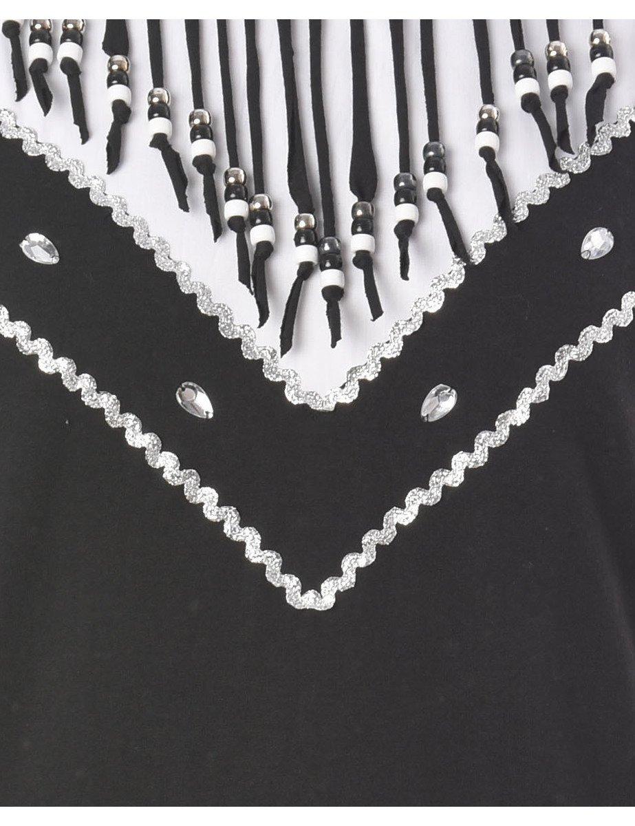 1990s Fringing Black Plain T-shirt - M