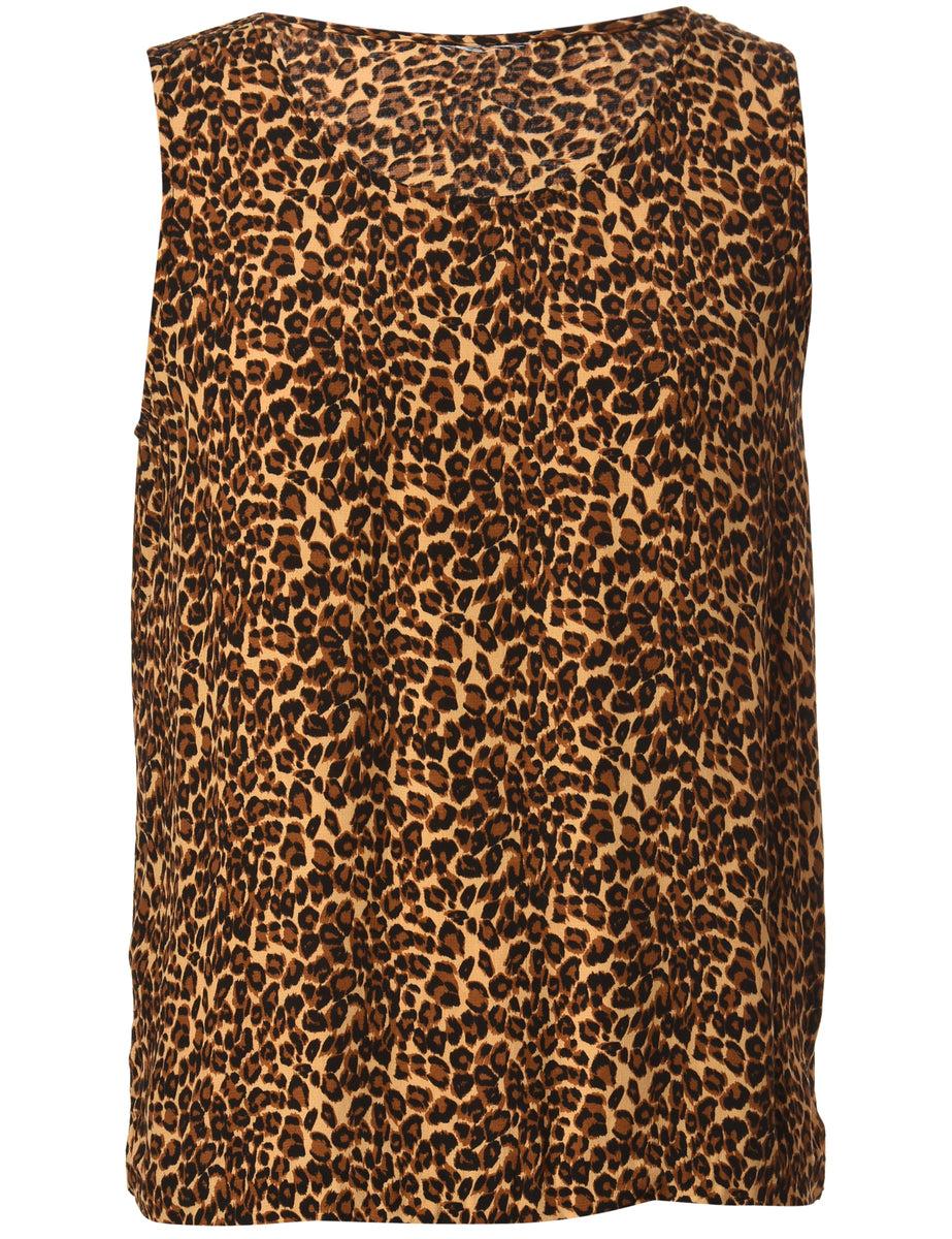 1990s Leopard Print Vest - M