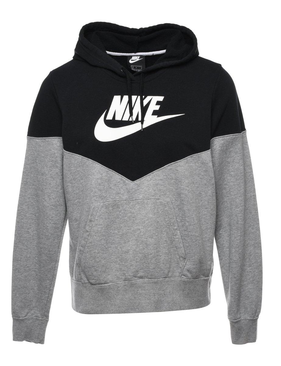 2000s Nike Two Tone Hooded Sports Sweatshirt - M