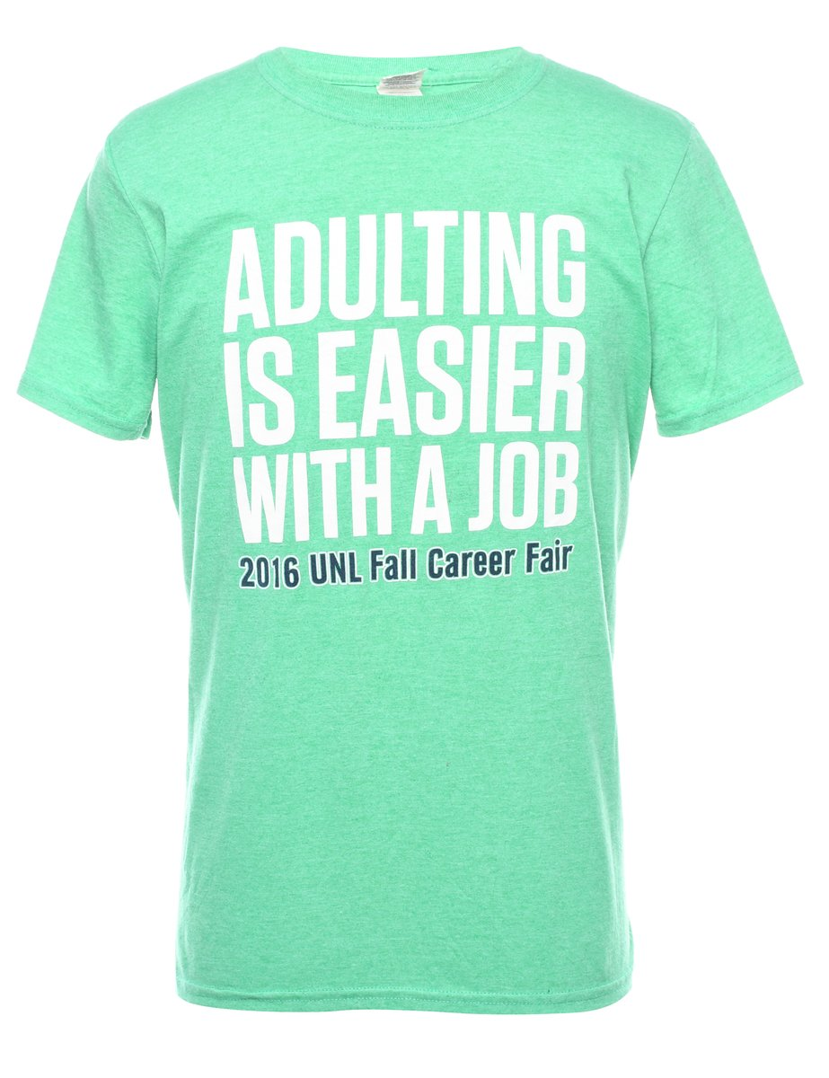 Beyond Retro 2000s Adulting Is Easier With A Job Printed T-shirt - M