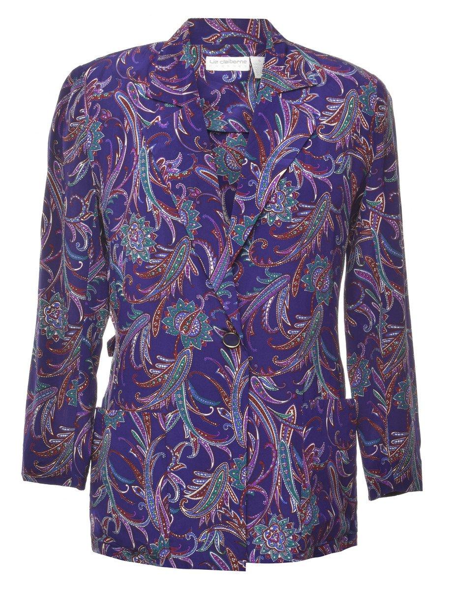 100% Silk Paisley Blazer - L