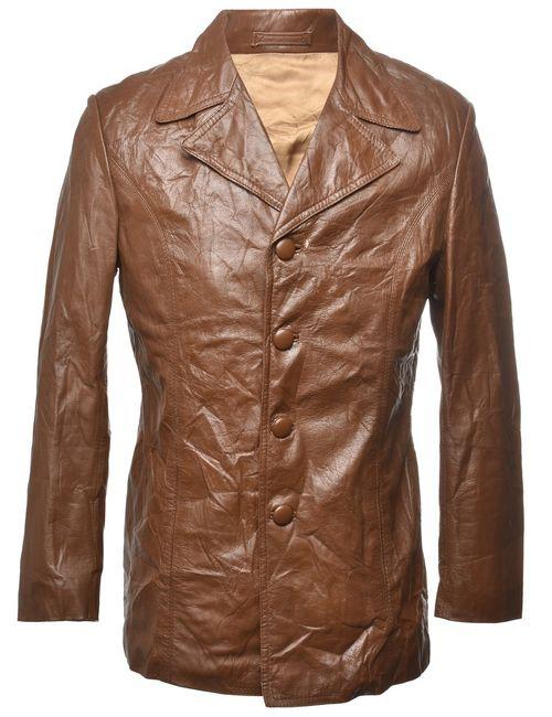 1970s Dark Brown Leather Jacket - M
