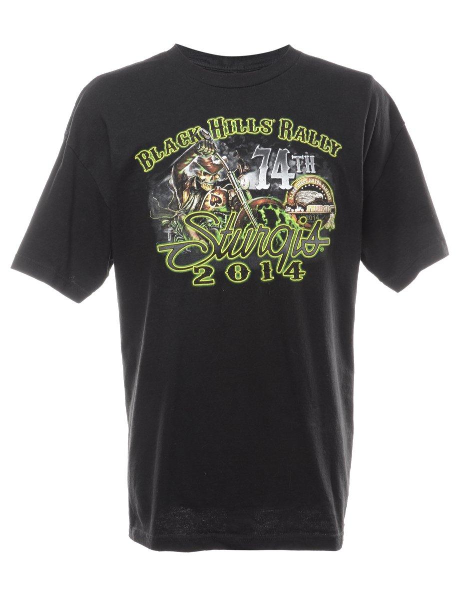 2000s Black Printed T-shirt - XL