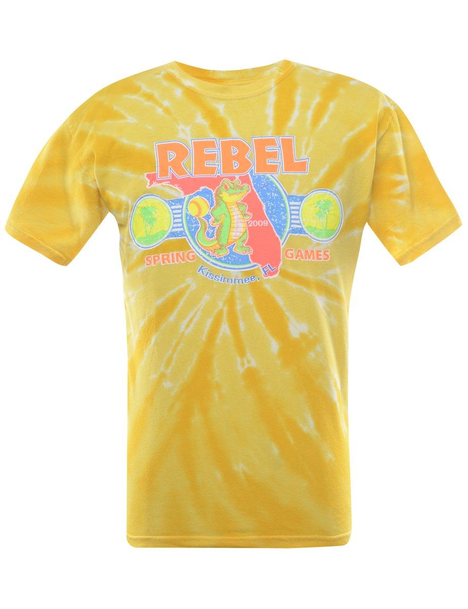 2000s Tie Dyed Rebel Printed T-shirt - M