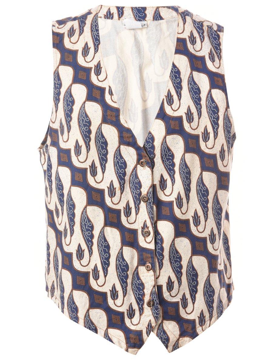 1990s Leafy Print Waistcoat - L