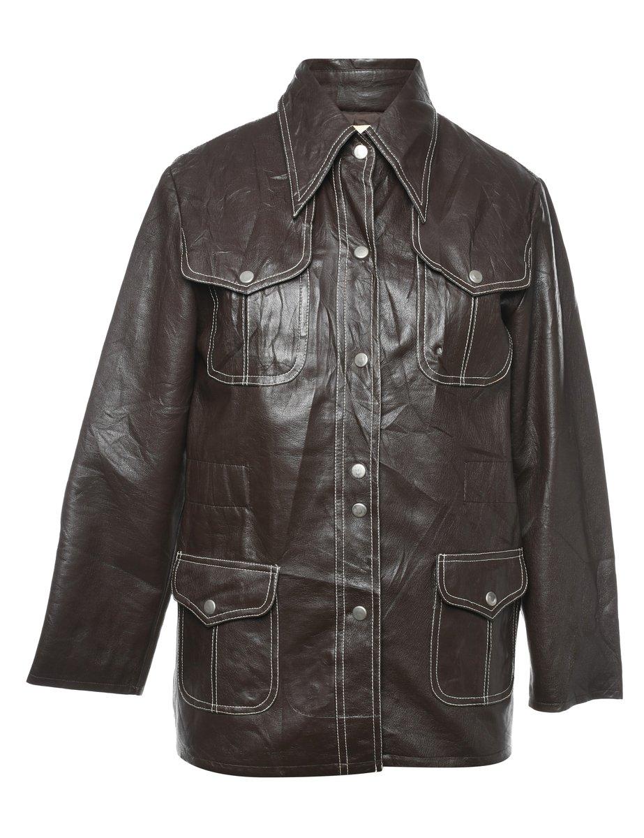 1970s Leather Jacket - M
