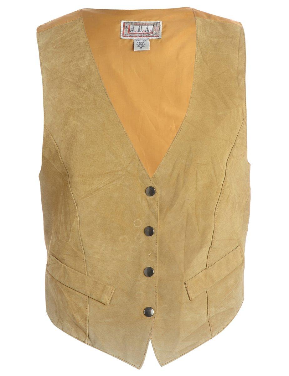 1980s Suede Front Brown Waistcoat - M
