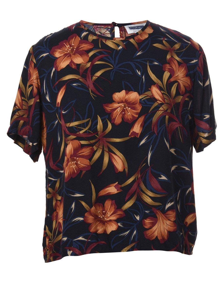 1990s Floral Printed Top - M