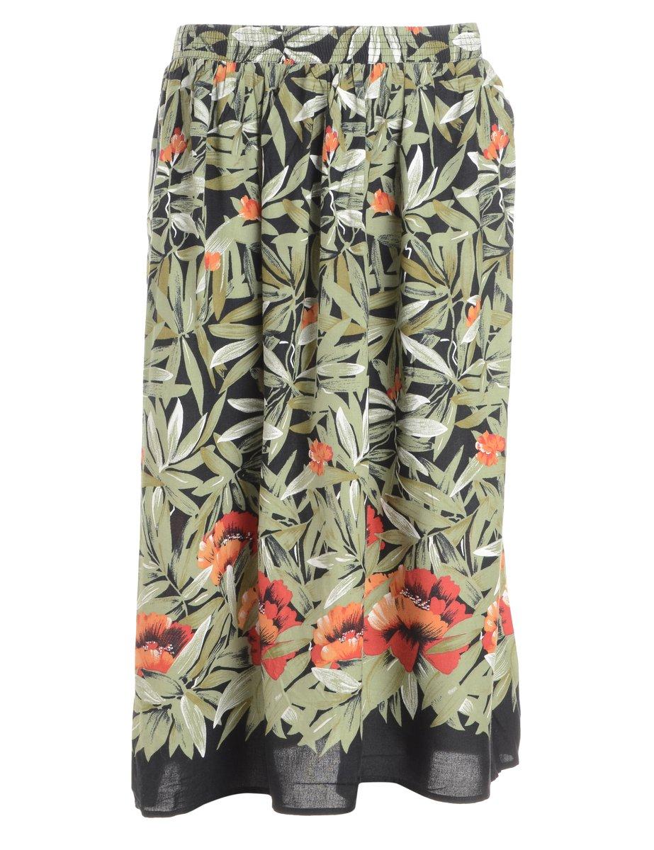 1990s Leafy Print Midi Skirt - M